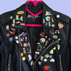 leather, jacket, and nasty gal moto jacket Howleen Wolf, Battle Jacket, Jacket Pins, Moto Jacket, Pin And Patches, Cute Pins, Up Girl, Punk Fashion, Nasty Gal