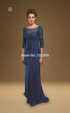 Gorgeous Navy Blue Mother of the Bride Dresses Lace Appliques robe de soiree Chiffon Long Evening Dresses vestido longo 2015-in Evening Dresses from Weddings & Events on Aliexpress.com | Alibaba Group