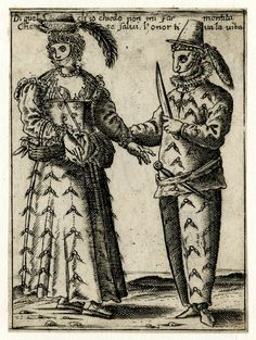 A couple, masked and wearing feathered hats, is standing, the woman at the left has a basket with fruits and the man at the right holds a dagger in his left hand Etching, 1638-1650