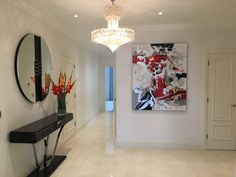 Kevin Burton Abstract Original Painting - Interior, Client Shot, Gallery Rouge, Red, Silver