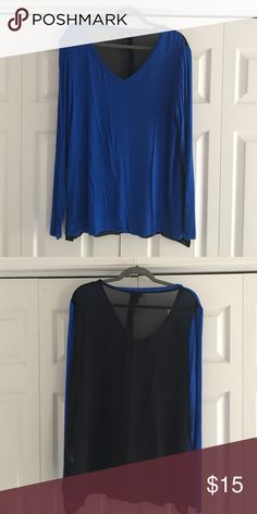 Cobalt blue and black long sleeve Cobalt blue v neck long sleeve shirt with sheer black back. Back bunches together but is not open. Mossimo Supply Co Tops Tees - Long Sleeve