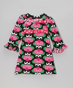 Take a look at this Black Mod Bouquet Long-Sleeve Dress - Infant, Toddler & Girls by Corky's Kids on #zulily today!