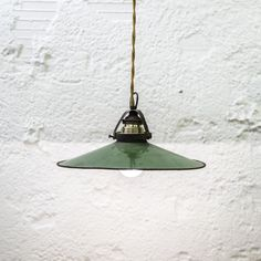 http://www.neukolln.es/shop/ Check our online store! VINTAGE PENDANT INDUSTRIAL LAMP GREEN METAL AND GOLD CABLE SIZE:  Ø 25 CM
