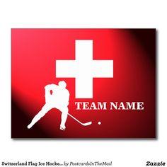 Switzerland Flag Ice Hockey Player Icon Postcard