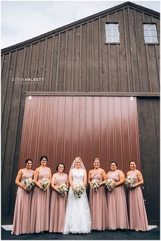 Bride with bridesmaids in long vintage rose gowns. Learn more about Knoxville wedding photographer @halkettphoto today on the blog in a Spotlight! | The Pink Bride® www.thepinkbride.com #knoxvillewedding #tennesseewedding