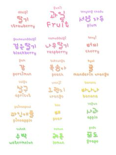 ❋ learn korean - Fruits ❋