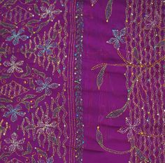 INDIAN VINTAGE CRAFT SAREE KANTHA EMBROIDERED FABRIC DÉCOR SARONG PURPLE SARI MOSTLY A STRAIGHT RUNNING STITCH