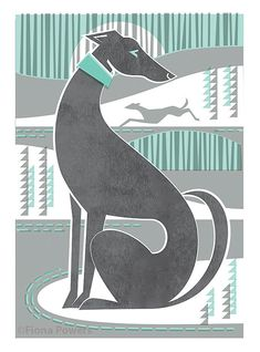A4 decorative greyhound/whippet print. 20% of the price will go to GRWE (Greyhound Rescue West of England) This is a high quality giclée print and is printed on Smooth High White 100% Cotton paper 315 gsm using archival inks. Colours may vary when viewed on different screens. The image
