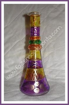 Glass painting. Decorated bottle.