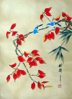 "Chinese Silk Painting Birds Flowers 24x16"" Brush Ink Gongbi Asian Art 