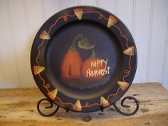 counrty+fall+crafts | Primitive Fall Happy Harvest Plate Pumpkin Candy Corn | eBay & Primitive Happy Fall Yu0027all Decorative Plate Pumpkin | Happy fall ...