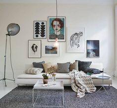 Sala de estar com decoração escandinava