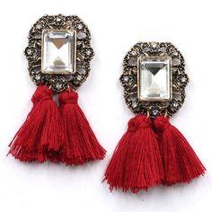 Jewelry Crystal Vintage Tassel Statement Bib Stud Earrings