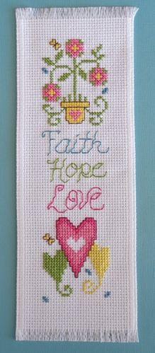 Completed Cross Stitch Bookmark Faith Hope Love | eBay