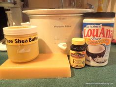 Ingredients used to make slow cooker lotion bars