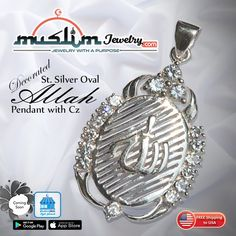 Hand-made Sterling Silver Allah Pendant with CZ Stones Cz Stones, Pocket Watch, Muslim, Allah, Islamic, Sterling Silver, Pendant, Handmade, Gifts