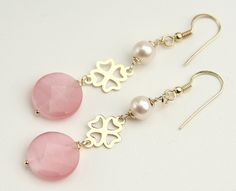 Pink Czech Crystal, Freswater Pearls, Chandelier Earrings, Sterling Silver 925 Gold Plating 24 Kt, Italian Handmade Jewelry, Gift 7592