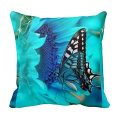 Butterfly Blue Decorative Throw Pillow