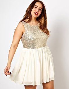 ASOS Curve. New Look Inspire Sequin Top Mesh Dress. This could work for the bridal shower too...