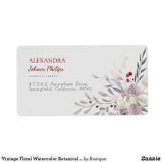 Vintage Floral Watercolor Botanical Address Label - Customize it and order it printed! Vintage Labels, Vintage Shops, Wedding Color Schemes, Wedding Colors, Address Labels, Vintage Floral, Watercolor Flowers, Delicate, Wedding Suite