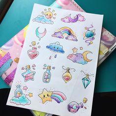 Seconde planche pour le flashday a Lille le 11 juin  #colortattoo #color #cutetattoo #cute #flashday #flashtattoo #cloud #cloudtattoo #star #startattoo #moon #moontattoo #rainbow #rainbowtattoo #glitter