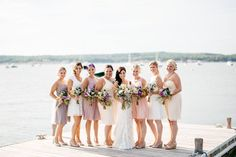 Real bride, real wedding, ivory, wedding gown, bridal gown, bridesmaids, mismatched bridesmaids
