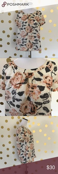 """CAbi 100% SILK BLOUSE, FLOWER PATTERN Beautiful CAbi 100% silk blouse size medium.  25"""" length from shoulder seam, 9 3/4 sleeve length from collar. Please let me know if you have any questions! CAbi Tops Blouses"""