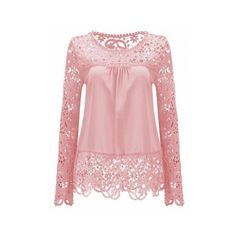 Pink Solid Color Lace Spliced Hollow Out Blouse ($14) ❤ liked on Polyvore featuring tops, blouses, lace blouse, lacy blouses, pink lace blouse, lacy tops and lace top