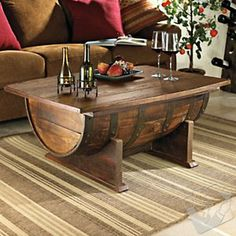 Whiskey barrel coffee table is coffee table that made from whiskey barrel. You can make whiskey barrel coffee table by yourself with use old whiskey barrel. Whiskey Barrel Coffee Table, Wine Barrel Table, Wine Table, Diy Coffee Table, Wine Barrels, Wine Cellar, Keg Table, Patio Table, Drum Table