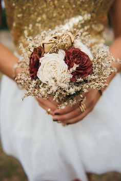 Small burgundy ivory gold rustic wedding BOUQUET sola Flowers, dried limonium, Burlap Handle, Flower girl, Bridesmaids, vintage fall toss by MKedraWedding on Etsy https://www.etsy.com/listing/288036033/small-burgundy-ivory-gold-rustic-wedding