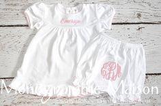 Girls Spring Monogrammed Dress - Ruffles - Bloomers - Baby Girl Gift - Baby Shower Gift - Baby Girl Outfit - Baby Girl Dress - Pima Cotton by MonogrammeMaison on Etsy https://www.etsy.com/listing/234365362/girls-spring-monogrammed-dress-ruffles