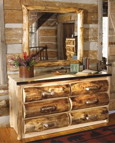 Log cabin homes from Canadian Log Homes. We have an extensive collection of rustic decor, rustic bedding, log cabin furniture and log home floor plans. Log Bedroom Furniture, Log Cabin Furniture, Western Furniture, Coaster Furniture, Rustic Furniture, Vintage Furniture, Furniture Decor, Furniture Design, Bedroom Decor
