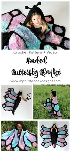 How to Crochet a Butterfly Blanket - Hooded Butterfly Blanket by MJ's Off The Hook Designs #butterfly #crochetbutterfly #butterflyblanket #butterflycostume #costume #crochetblanket #crochetpattern #crochet #summercrochet #bernatpop #cakeyarns MJ's off the Hook Designs
