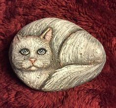 Painted Persian Cat Painting on a Beach Rock - Animal pet art - CreatedCanvases  | eBay