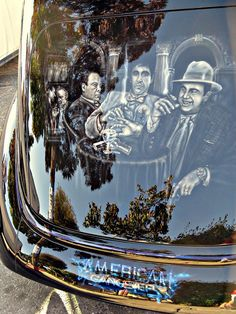 American Gangster airbrushed car, very cool Air Brush Painting, Car Painting, Body Painting, Airbrush Designs, Airbrush Art, Custom Paint Jobs, Custom Cars, Arte Lowrider, Custom Airbrushing