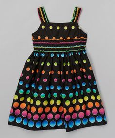 This Youngland Black & Rainbow Polka Dot Dress - Girls by Youngland is perfect! #zulilyfinds