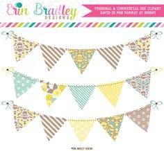 Yellow Blue Brown Banner Flag Clipart – Erin Bradley/Ink Obsession Designs