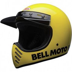 Shop for Bell Moto 3 Helmet - Classic Yellow. A modern and updated version of the classic off-road motorcycle helmet from Bell. Dirt Bike Helmets, Motocross Helmets, Biker Helmets, Racing Helmets, Retro Helmet, Vintage Helmet, Vintage Biker, Casque Bell, Bell Moto 3