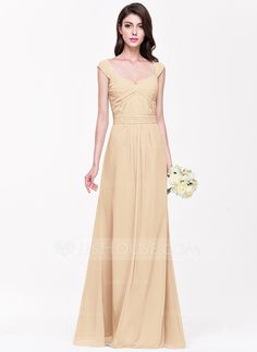 A-Line/Princess Sweetheart Floor-Length Ruffle Zipper Up Cap Straps Sleeveless No Other Colors Spring Summer Fall General Plus Chiffon Bridesmaid Dress
