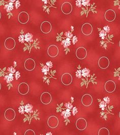 Keepsake Calico™ Cotton Fabric-Flower Branch Red