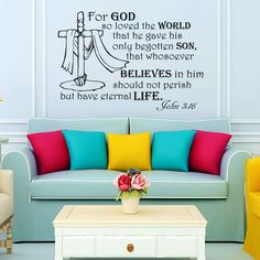 Wall Decals Quotes For god so loved the world... John 3:16 Bible Verse Vinyl Sticker Wall Decor Murals Wall Decal: Amazon.co.uk: Kitchen & Home