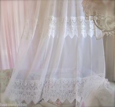 Shabby French Chic Vintage White Voile Lace Window Curtain Panel Drape More Available