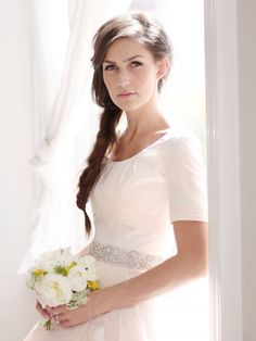 Anne Barge scoop neck modest wedding dress-simplicity at its best. so beautiful