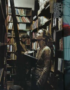 """Kate Moss with books by Drew Jarrett for Allure, February 1997. """"For the 23-year old model, reading is a habit honed in airports; collecting first editions is a recently acquired kick. Here, browsing in the Quinto bookshop. Silk chiffon beaded top by Marc Jacobs. Viscose and wool pants by Ann Demeulemeester."""""""