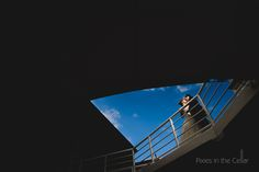 Chester racecourse wedding photographers. Love the graphic nature if this shot, simple lines and blue sky.