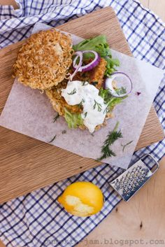 Ramenburger with Fish Fingers and Tartar Sauce
