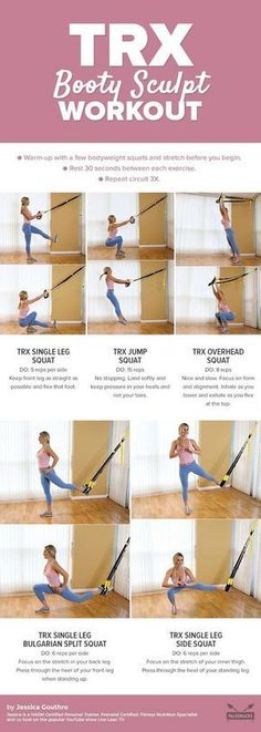 Sculpt Your Booty with This TRX Squat Workout Squats are one of the most effective ways to train your legs and butt. To take them to the next level, use these TRX moves to transform your squats into more challenging variations. Get the workout he Fitness Workouts, Yoga Fitness, At Home Workouts, Fitness Plan, Trx Workouts For Women, Butt Workouts, Health Fitness, Trx Leg Exercises, Leg Workout Women