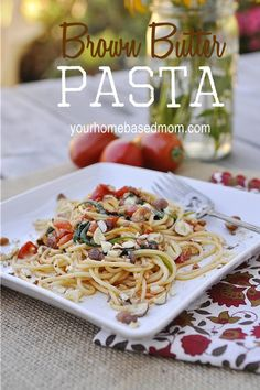 Brown Butter Pasta is delicious and easy to put together. A combination of garlic, spinach, tomato,hazelnuts and brown butter. It is also a great non-meat, vegetarian option for dinner.