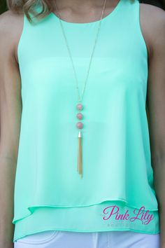 USE DISC. CODE: REPAMIE10 TO SAVE! www.pinklilyboutique.com             Added Beauty Tassel Necklace Pink - The Pink Lily Boutique