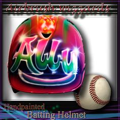 Your place to buy and sell all things handmade Softball Helmet, Softball Mom, Baseball Jerseys, Baseball Caps, Cleveland Indians Baseball, Youth Baseball Gloves, Helmet Design, Airbrush, Hand Painted